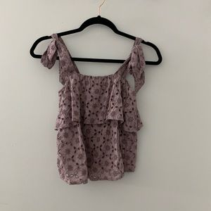 AE Lavender Tie Sleeve Top